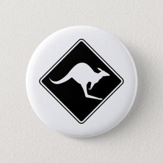 Wild Australian Kangaroo Marsupial Roo Silhouette Pinback Button