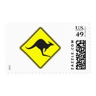 Wild Australian Kangaroo Marsupial Roo Silhouette Stamp