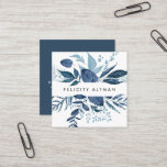 """Wild Azure   Botanical Square Business Card<br><div class=""""desc"""">Chic botanical business cards in a unique square format feature your name or company name flanked by a top and bottom border of painted watercolor botanical leaves in delft-inspired shades of navy and sky blue. Add your full contact information to the back in white on harbor blue. A unique and...</div>"""