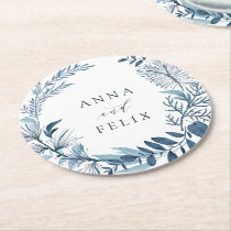 Wild Azure Personalized Wedding Round Paper Coaster
