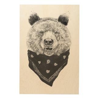 Wild bear wood wall art