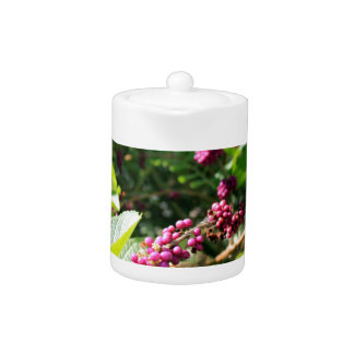 Wild Beautyberry Bush Outside in Sunny Florida Day Teapot