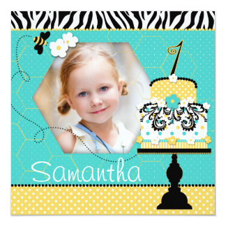 Wild Bee Birthday Cake One Personalized Announcement