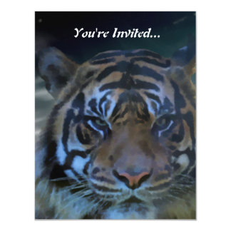 Wild Bengal Tiger Watercolor Invites
