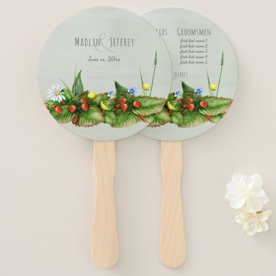 Wild berries and wildflowers green country hand fan