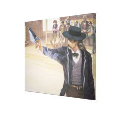 'Wild Bill' Hickok (1837-76) demonstrates his mark Canvas Print