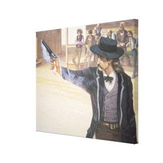 'Wild Bill' Hickok (1837-76) demonstrates his mark Canvas Print