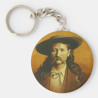 Wild Bill Hickok Illustration Basic Round Button Keychain