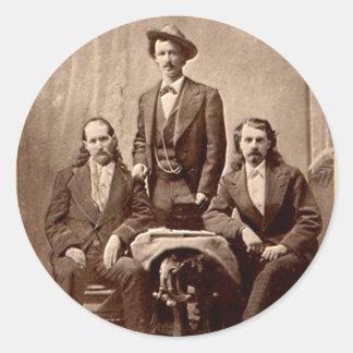 Wild Bill Hickok - Tejas Jack - Buffalo Bill Pegatina Redonda