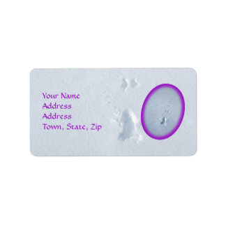 Wild Bird Footprints in Snow: Purple Border Address Label