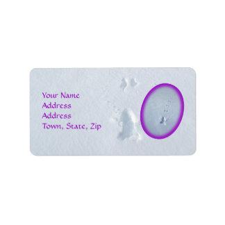Wild Bird Footprints in Snow: Purple Border Custom Address Labels