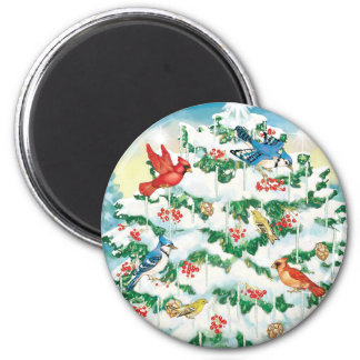 Wild Birds in Nature with Starlit Christmas Tree 2 Inch Round Magnet
