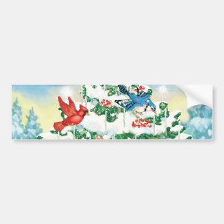 Wild Birds in Nature with Starlit Christmas Tree Car Bumper Sticker