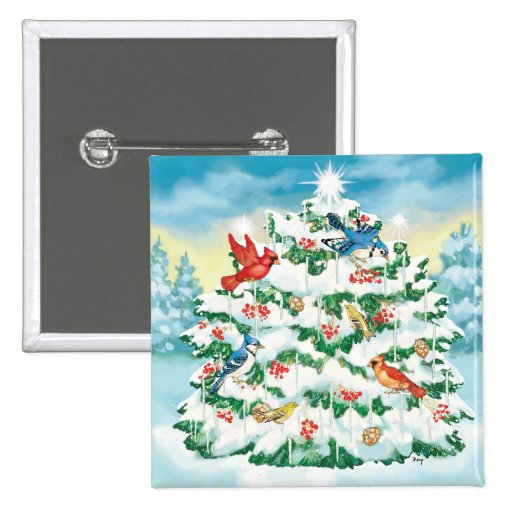 Wild Birds in Nature with Starlit Christmas Tree Pins