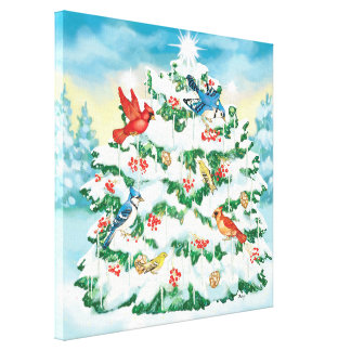 Wild Birds in Nature with Starlit Christmas Tree Stretched Canvas Prints