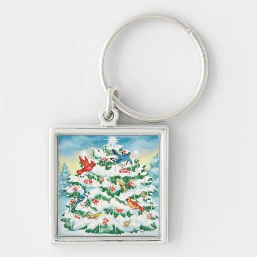 Wild Birds in Nature with Starlit Christmas Tree Silver-Colored Square Keychain
