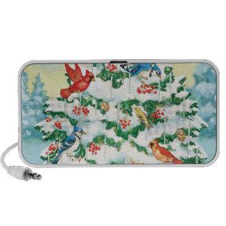 Wild Birds in Nature with Starlit Christmas Tree Laptop Speaker