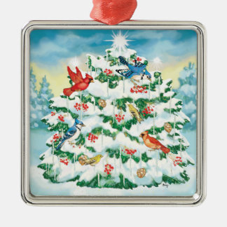 Wild Birds in Nature with Starlit Christmas Tree Metal Ornament