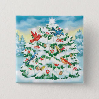 Wild Birds in Nature with Starlit Christmas Tree Pinback Button