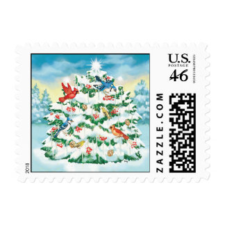 Wild Birds in Nature with Starlit Christmas Tree Stamps