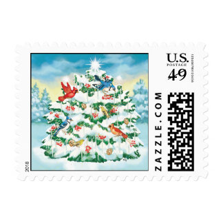 Wild Birds in Nature with Starlit Christmas Tree Stamp