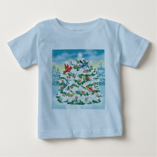 Wild Birds in Nature with Starlit Christmas Tree Tshirts