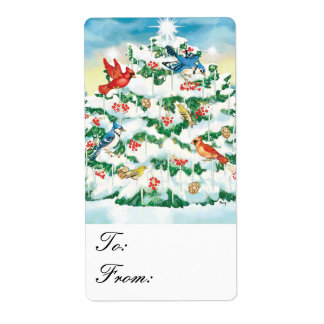 Wild Birds Nature Starlit Christmas Tree Gift Tags Shipping Label