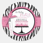 Wild Birthday Cake Sticker Pink
