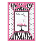 Wild Birthday Cake TY Card Pink 3 Personalized Invitations