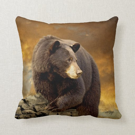 Wild Black Bear Pillow by Lois Bryan