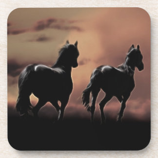 Wild black beauty horses coaster