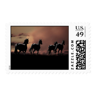 Wild black beauty horses postage