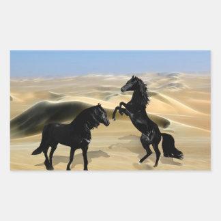 Wild black beauty horses rectangular sticker