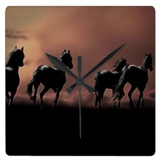 Wild black beauty horses square wall clock