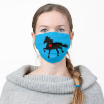 Wild Black Horse Running & Red heart Cloth Face Mask