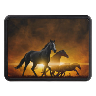 Wild Black Horses Hitch Cover