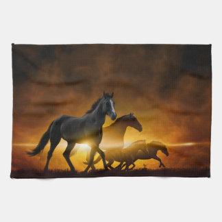 Wild Black Horses Kitchen Towel