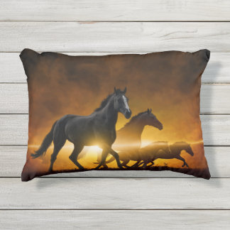 Wild Black Horses Outdoor Accent Pillow