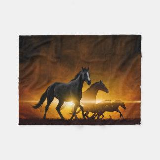 Wild Black Horses Small Fleece Blanket