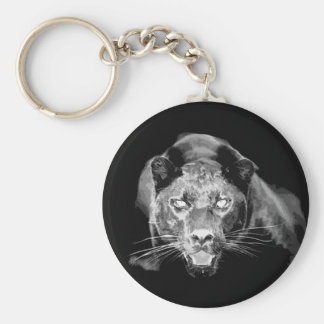 Wild Black Jaguar Cat Roars Keychain