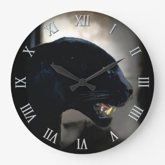 Wild Black Panther Animal-lover Large Clock