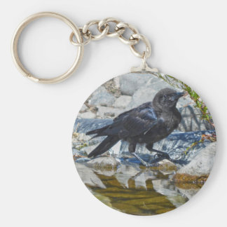 Wild Black Raven Reflected in Pool Keychain