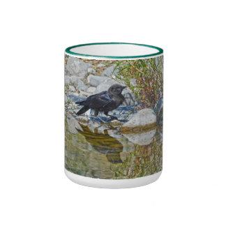 Wild Black Raven Reflected in Pool Ringer Mug