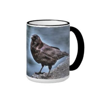 Wild Black Raven Standing on Rocks Ringer Mug