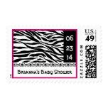 Wild Black White Pink Zebra Baby Shower Stamp