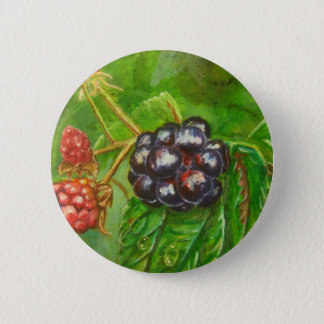 Wild Blackberries ripening in Summer Pinback Button