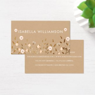 Wild Blossom | Gold Glitter Floral Elegant Kraft Business Card
