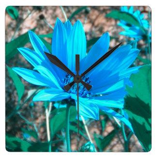 Wild Blue Sunflower Wall Clock