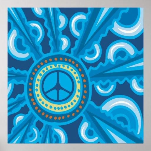 Wild Blue Yonder con el signo de la paz Posters