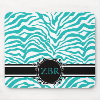 Wild Blue Zebra Print with Cool Monogram Mouse Pad